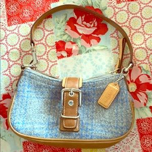 Coach grey and blue plaid purse